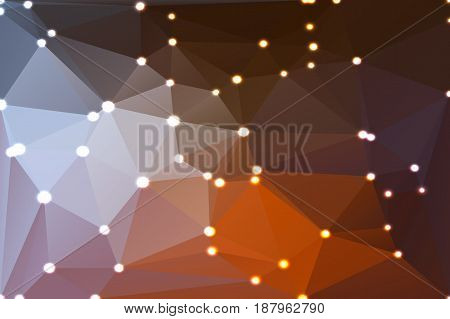 Brown orange white abstract low poly geometric background with defocused lights