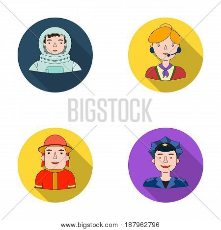 An astronaut in a spacesuit, a co-worker with a microphone, a fireman in a helmet, a policeman with a badge on his cap. People of different professions set collection icons in flat style vector symbol stock illustration .