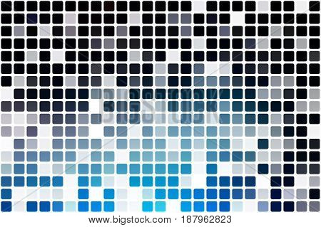 Deep and pale blue occasional opacity vector square tiles mosaic over white background