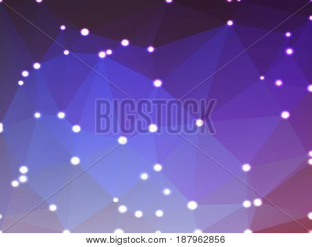 Purple lilac pink abstract low poly geometric background with defocused lights