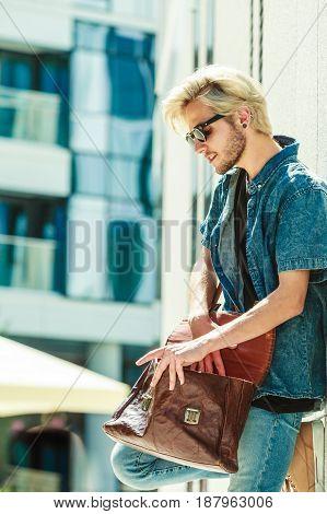 Hipster Man Standing On City Street, Urban Fashion