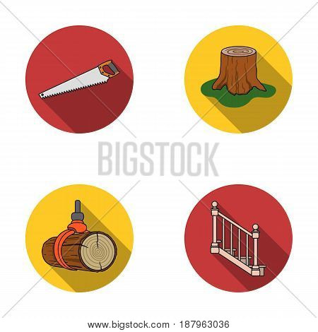 A hacksaw, a stump, a staircase with handrails, a beam. A sawmill and timber set collection icons in flat style vector symbol stock illustration .