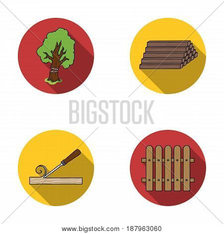 Wood, logs in a stack, chisel, fence. Lumber and timber set collection icons in flat style vector symbol stock illustration .