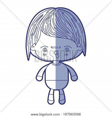 blue shading silhouette of kawaii little boy with facial expression furious vector illustration