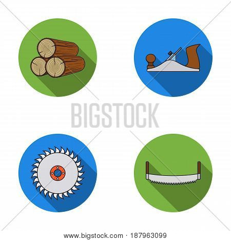 Logs in stacks, two-handed saws, circular saw. Sawmill and timber set collection icons in flat style vector symbol stock illustration .