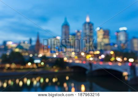 Bokeh, Blurred Background Of Cityscape At Night