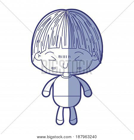 blue shading silhouette of kawaii little boy with mushroom hairstyle and facial expression furious vector illustration