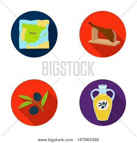 Map of Spain, jamon national dish, olives on a branch, olive oil in a bottle. Spain country set collection icons in flat style vector symbol stock illustration .