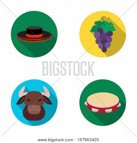The hat of the todeador, the matador, a bunch of grapes with fists, a bull for the Spanish bullfight, a tambourine. Spain country set collection icons in flat style vector symbol stock illustration .