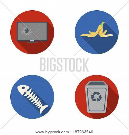 Broken TV monitor, banana peel, fish skeleton, garbage bin. Garbage and trash set collection icons in flat style vector symbol stock illustration .