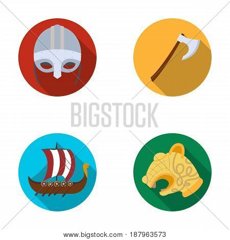 Viking helmet, battle ax, rook on oars with shields, dragon, treasure. Vikings set collection icons in flat style vector symbol stock illustration .