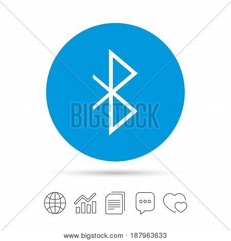 Bluetooth sign icon. Mobile network symbol. Data transfer. Copy files, chat speech bubble and chart web icons. Vector