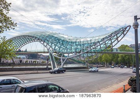 The Bridge Of Peace Over The Kura River In Tbilisi