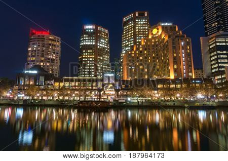 Night Cityscape View. Melbourne, Australia