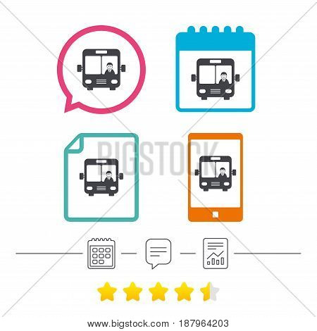Bus sign icon. Public transport with driver symbol. Calendar, chat speech bubble and report linear icons. Star vote ranking. Vector