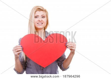 Woman Holding Big Heart Love Symbol