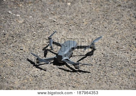 Drone with integrated camera , quadrocopter .