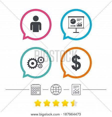 Business icons. Human silhouette and presentation board with charts signs. Dollar currency and gear symbols. Calendar, internet globe and report linear icons. Star vote ranking. Vector