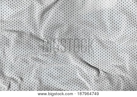 Sport Clothing Fabric Texture Background, Top View Of White Cloth Textile Surface
