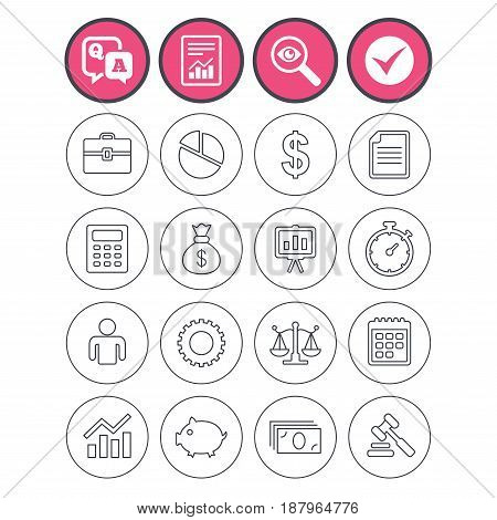 Question and answer, check tick and report signs. Business icons. Businessman, briefcase and documents symbols. Presentation pie chart, money bag and justice scales thin outline signs. Vector