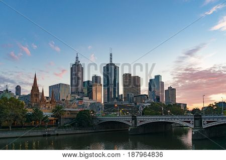 Melbourne Downtown Cityscape In The Morning