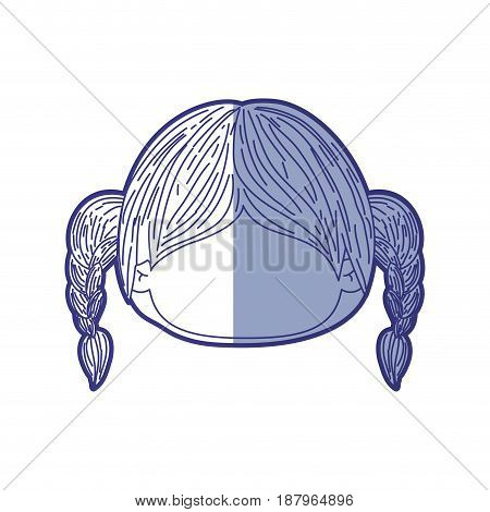 blue shading silhouette of faceless head of little girl with hair pigtails vector illustration