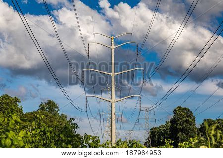 Horizontal photo of power lines and tower against a blue sky with large white and grey clouds and green trees and bushes in the lower part of the frame