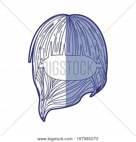 blue shading silhouette of faceless head of little girl with long hair vector illustration