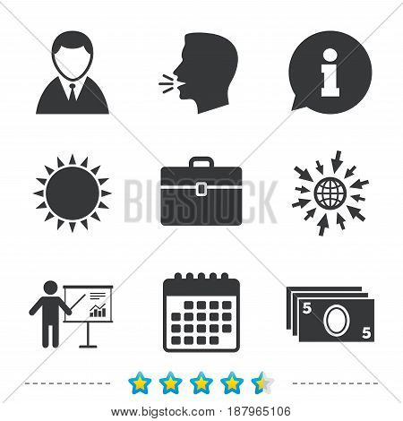 Businessman icons. Human silhouette and cash money signs. Case and presentation with chart symbols. Information, go to web and calendar icons. Sun and loud speak symbol. Vector