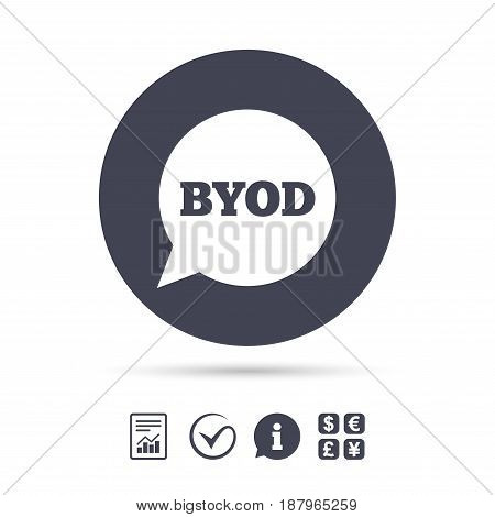 BYOD sign icon. Bring your own device symbol. Speech bubble sign. Report document, information and check tick icons. Currency exchange. Vector