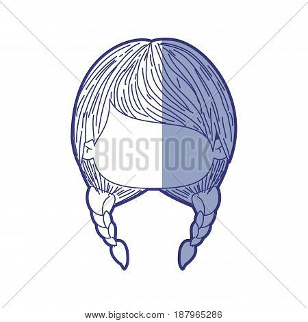 blue shading silhouette of faceless head of little girl with two braids hairstyle vector illustration