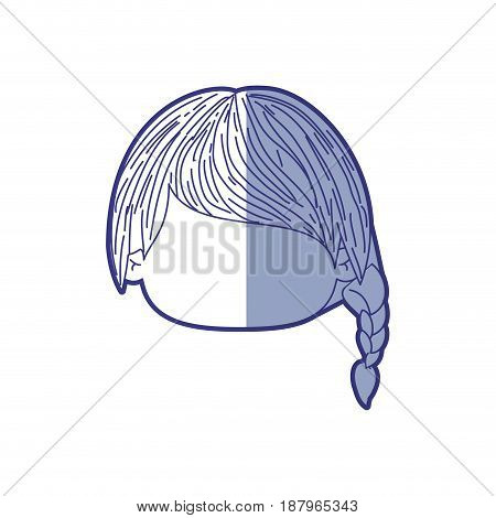 blue shading silhouette of faceless head of little girl with braid hairstyle left side vector illustration