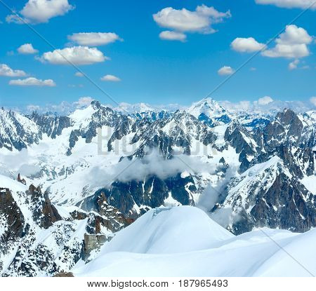 Mont Blanc Mountain Massif (view From Aiguille Du Midi Mount,  France )