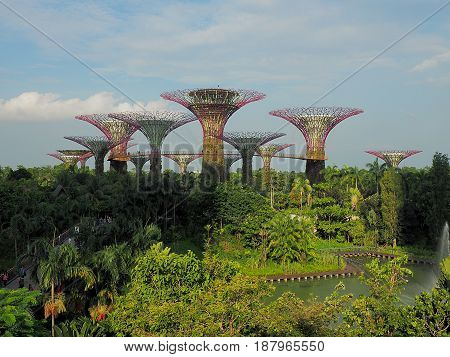 Gardens by the Bay. Singapore, Singapore - June 05, 2016 Futuristic Superdream in the gardens of the Bay by the Bay Marina in Singapore.