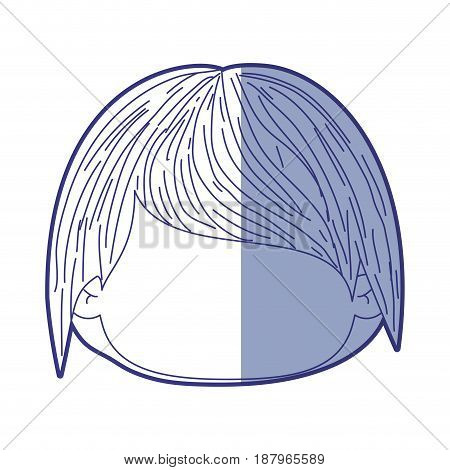 blue shading silhouette of faceless head of little kid with short hair vector illustration