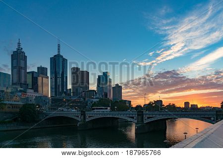 Colorful Sunrise Sky And Melbourne Cbd View