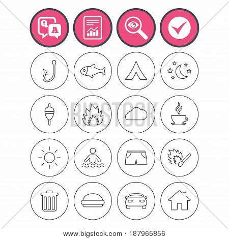 Question and answer, check tick and report signs. Camping and fishing icons. Tourist tent, fire and match symbols. Coffee cup and hamburger. Car and house. Vector