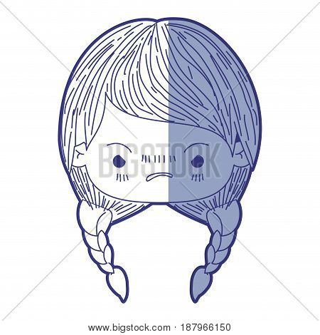 blue shading silhouette of kawaii head little girl with braided hair and facial expression angry vector illustration