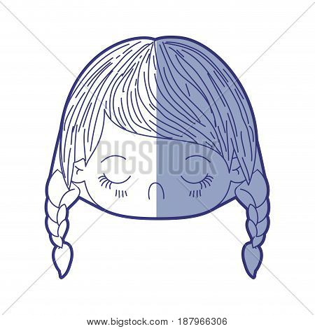 blue shading silhouette of kawaii head little girl with braided hair and facial expression disgust vector illustration