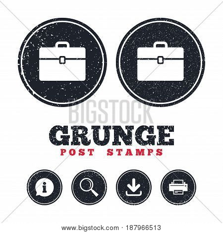 Grunge post stamps. Case sign icon. Briefcase button. Information, download and printer signs. Aged texture web buttons. Vector