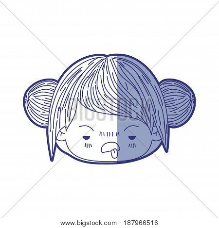 blue shading silhouette of kawaii head little girl with collected hair and facial expression unsavory vector illustration