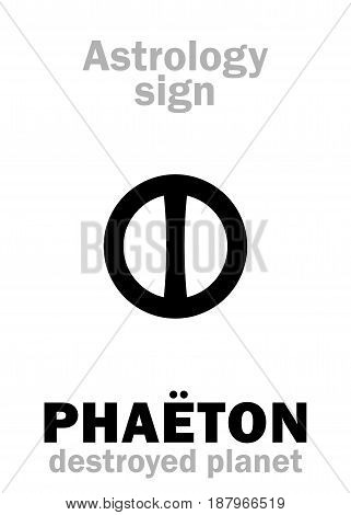 Astrology Alphabet: PHAËTON (Juno), hypothetic destroyed planet (between Mars and Jupiter, now Asteroids belt). Hieroglyphics character sign (single symbol).
