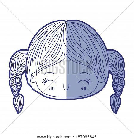 blue shading silhouette of kawaii head little girl with braided hair and facial expression happiness with closed eyes vector illustration