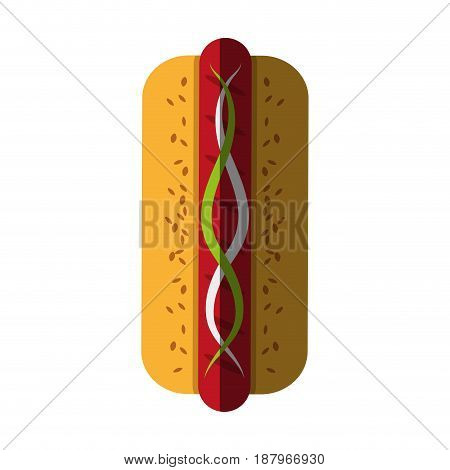 hot dog with condiments fast food icon image vector illustration design