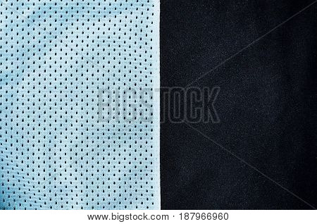 Sport Clothing Fabric Texture Background. Top View Of Light Blue Polyester Nylon Cloth Textile Surfa