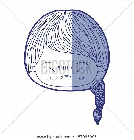 blue shading silhouette of kawaii head little girl with braided hair and facial expression angry with closed eyes vector illustration