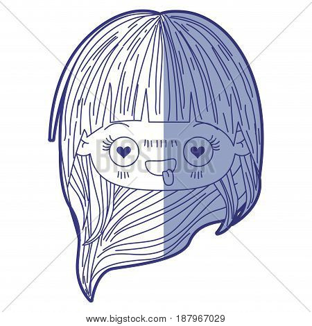 blue shading silhouette of kawaii head little girl with long hair and facial expression enamored vector illustration