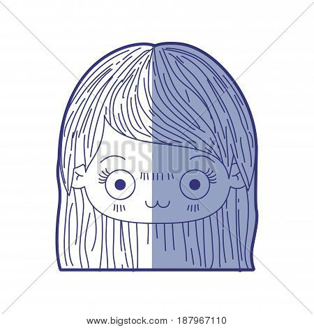 blue shading silhouette of kawaii head of cute little girl with straight hair and facial expression depressed vector illustration