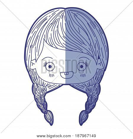 blue shading silhouette of kawaii head of cute little girl with braided hair and smiling vector illustration
