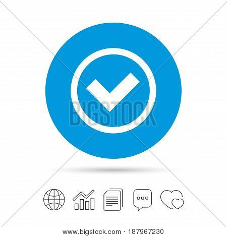 Check mark sign icon. Yes circle symbol. Confirm approved. Copy files, chat speech bubble and chart web icons. Vector